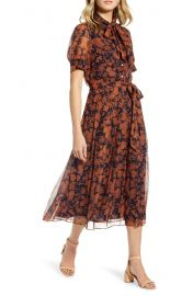 Floral Print Button Front Pleated Chiffon Dress by 1901 at Nordstrom