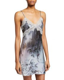 Floral-Print Classic Lace-Trim Chemise by Samantha Chang at Neiman Marcus