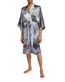 Floral-Print Classic Silk Kimono Robe by Samantha Chang at Neiman Marcus