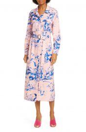 Floral Print Crepe Long Sleeve Midi Shirtdress at Nordstrom