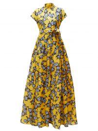 Floral-Print Gathered Silk-Gazar Gown by Carolina Herrera at Carolina Herrera
