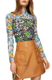 Floral Print Long Sleeve Mesh Top at Nordstrom