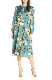 Floral Print Long Sleeve Ruffle Neck Dress at Nordstrom