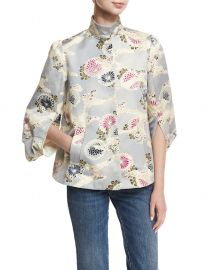 Floral-Print Mandarin-Collar Topper at Bergdorf Goodman