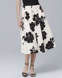 Floral Print Midi Skirt by White House Black Market at White House Black Market