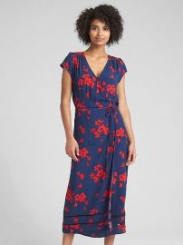 Floral Print Midi Wrap Dress by Gap at GAP