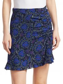 Floral-Print Ruched Silk Mini Skirt at Saks Off 5th