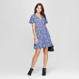 Floral Print Short Sleeve Flutter Button-Front Dress at Target