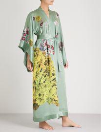 Floral-Print Silk-Satin Kimono Robe by Meng at Selfridges