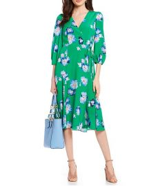 Floral Print Tie Waist Faux Wrap Midi Dress by Eliza J at Dillards
