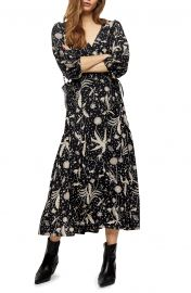 Floral Print Wrap Midi Dress at Nordstrom