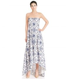 Floral Printed Faille Strapless Hi-Lo Evening Gown Dress at Rakuten