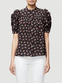 Floral Ruched Sleeve Silk Blouse at Frame