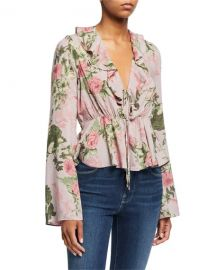 Floral Ruffle Tie Top at Last Call
