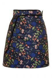 Floral Satin Jacquard skirt at Topshop