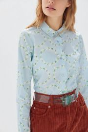 Floral Scalloped Button-Down Shirt by Urban Outfitters at Urban Outfitters