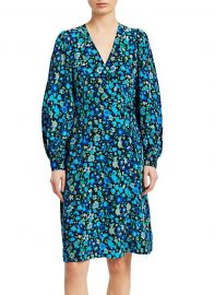 Floral Silk-Blend Midi Dress by Ganni at Saks Off 5th