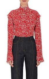 Floral Silk Georgette Ruffle Blouse at Barneys
