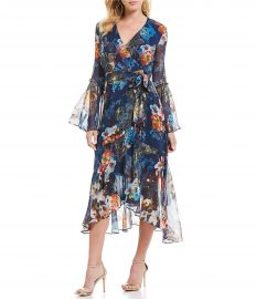 Floral Wrap Bell Sleeve Midi Dress by Nicole Miller at Dillards