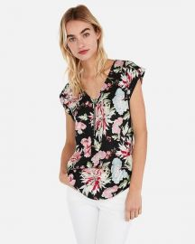 Floral Zip Front Gramercy Tee at Express