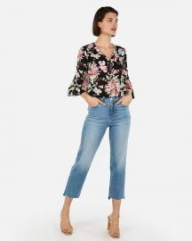 Floral Zip-Front Ruffle Sleeve Chelsea Popover at Express