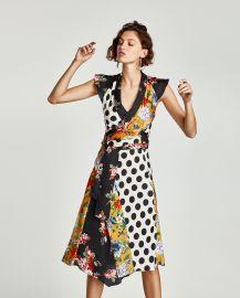 Floral and Polka Dot Patchwork Dress at Zara
