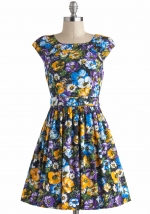 Floral cap sleeve dress at Modcloth