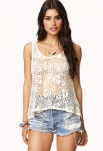 Floral crochet tank top at Forever 21