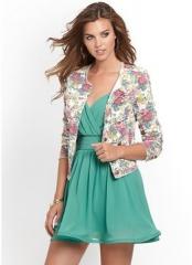 Floral denim jacket at Guess