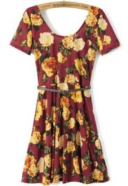 Floral dress at Romwe