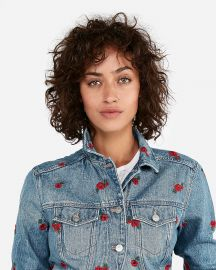 Floral embroidered denim trucker jacket at Express