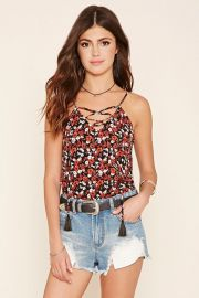 Floral lace up cami at Forever 21