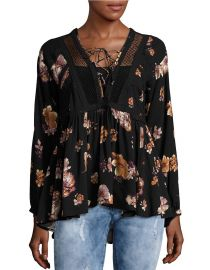 Floral lace up top at Lord & Taylor