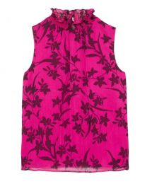 Floral-print Smocked-neck Blouse at Vince Camuto