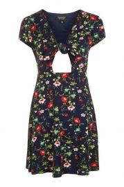 Floral print bow front dress at Topshop