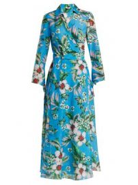 Floral-print cotton and silk-blend wrap dress at Matches