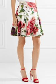Floral-print cotton-blend jacquard mini skirt at Net A Porter