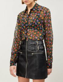 Floral-print cropped silk-chiffon shirt at Selfridges
