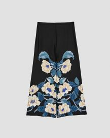 Floral print culottes with zip fastening on the side at Zara