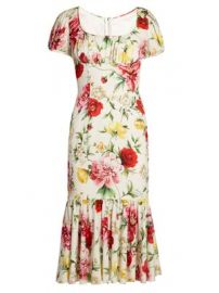 Floral-print gathered midi dress at Matches