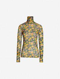 Floral-print high-collar mesh T-shirt at Selfridges