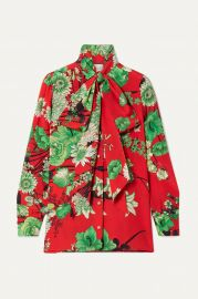 Floral-print pussy bow silk-satin blouse at Net A Porter