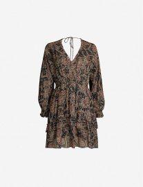 Floral-print ruffle-trimmed silk-blend crepe dress at Selfridges