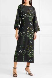 Floral-print silk crepe de chine midi dress at Net A Porter