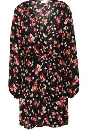 Floral-print silk-crepe mini wrap dress at The Outnet