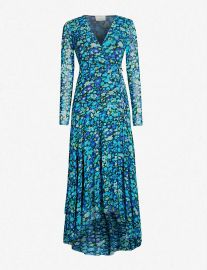 Floral-print wrap over stretch-mesh maxi dress at Selfridges