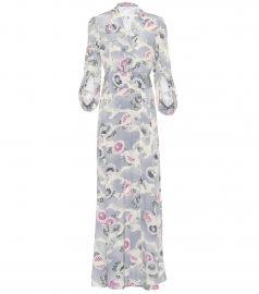 Floral-printed silk dress at Mytheresa