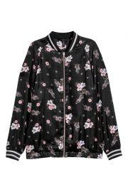 Floral satin bomber jacket at H&M