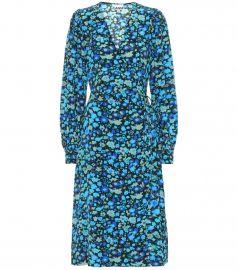 Floral silk-blend midi dress at Mytheresa