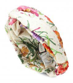 Floral silk headband at Mytheresa